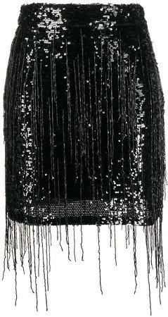 Fringed Embroidered Mini Skirt