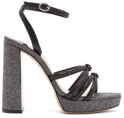 Freya Suede And Glitter Platform Sandals - Black