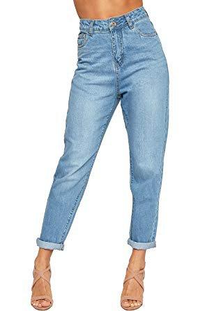 WearAll Women's High Waisted Turn Up Faded Straight Leg Denim Ladies Boyfriend Jeans - Blue