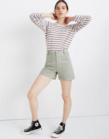 High-Rise Cuffed Shorts