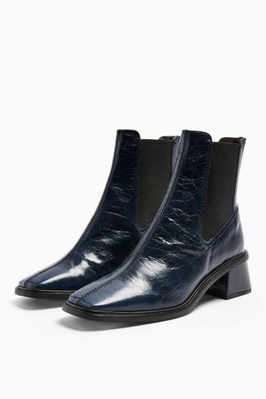 MIA Leather Navy Chelsea Boots   Topshop