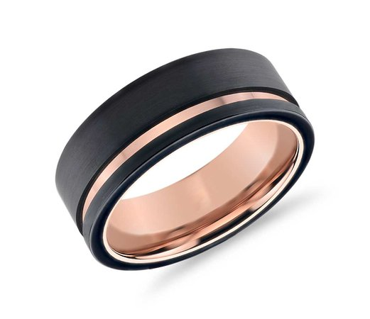 rose gold and black ring