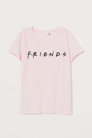T-shirt with Motif - Pink