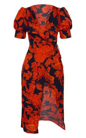 Black Floral Print Wrap Tie Puff Sleeve Midi Dress | PrettyLittleThing USA