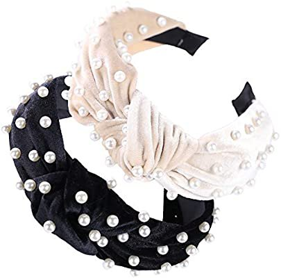 Amazon.com : Pearl Headbands for Women, 3 Pack, Thick, Wide Knotted Turban Bands for Teens, Girls and Adults, Soft Velvet, Cute Black, Beige, and Pink Hair Accessories : Beauty