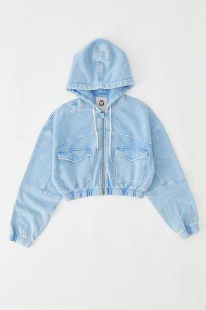 UO Yogi Fleece Cropped Hoodie Sweatshirt   Urban Outfitters