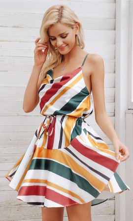 Warm Glow Rasta Multicolor Stripe Pattern Sleeveless Spaghetti Strap V – Indie XO
