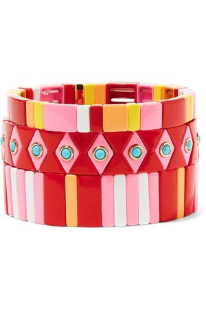 Roxanne Assoulin | Hibiscus set of three enamel bracelets | NET-A-PORTER.COM