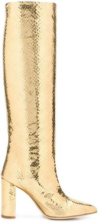 embossed knee boots