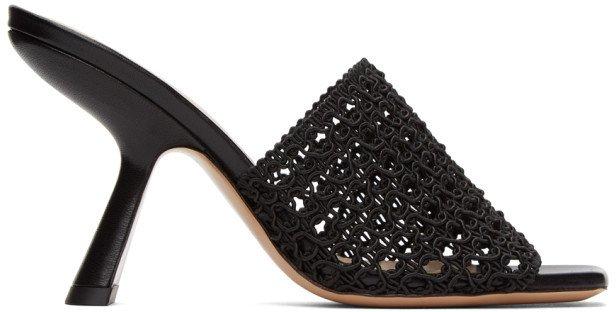 Black Alba Mule Heeled Sandals