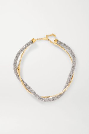 Silver Daria gold and silver-tone crystal necklace | Chloé | NET-A-PORTER