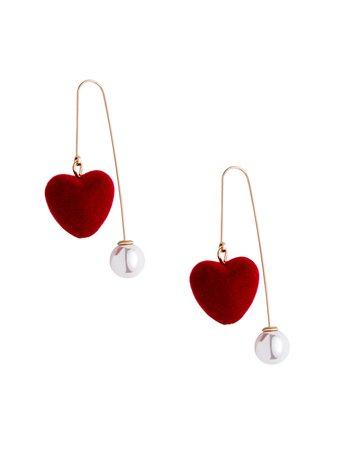 Burgundy Heart Faux Pearl Personalized Drop Earrings