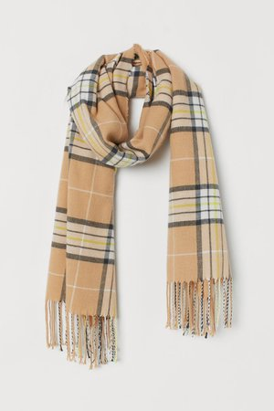 Checked Scarf - Beige/yellow checked - Ladies | H&M US