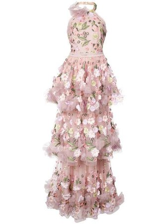 Marchesa Notte floral-appliquéd tiered ruffled gown $907 - Shop AW18 Online - Fast Delivery, Price