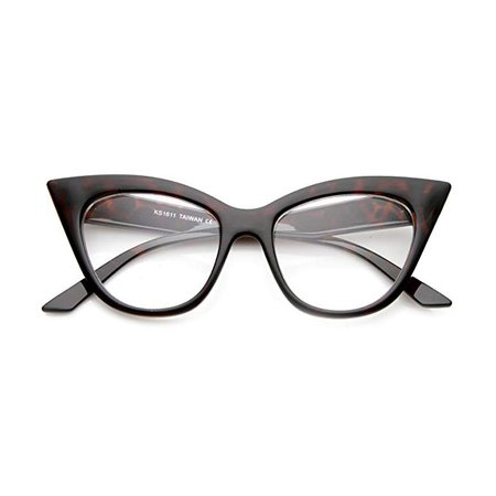 Amazon.com: Women's High Pointed 60's Era Mod Fashion Clear Lens Cat Eye Glasses (Tortoise): Clothing