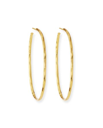 NEST Jewelry Thin Hammered 22k Gold-Plated Hoop Earrings | Neiman Marcus
