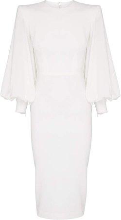Blunt Structured Crepe Midi Dress