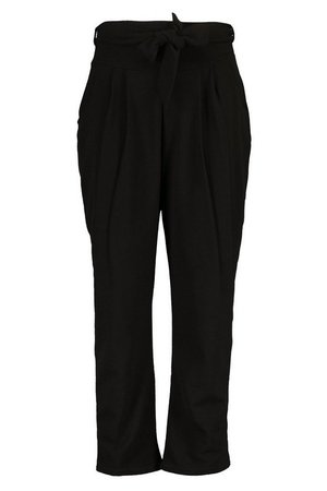 Plus High Waisted Pleated Belted Wide Leg Pants | boohoo