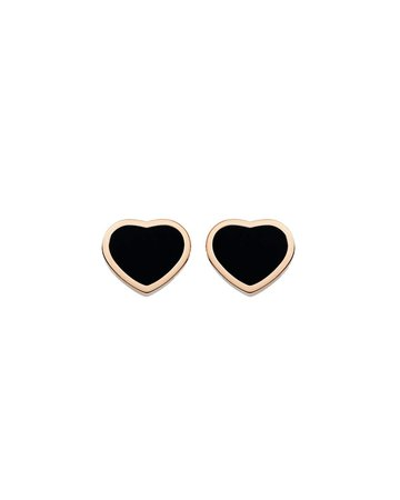Chopard Happy Hearts Onyx Stud Earrings