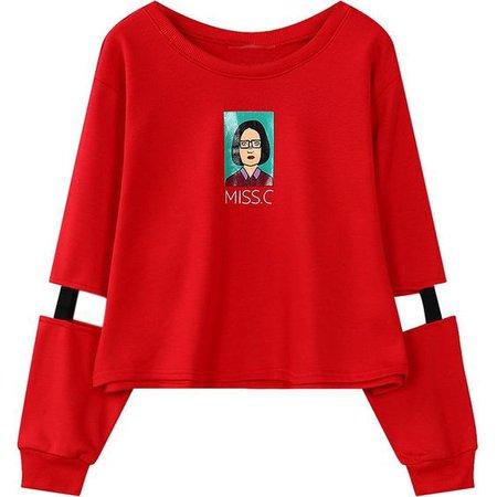 sweatshirts harajuku cutout crop top