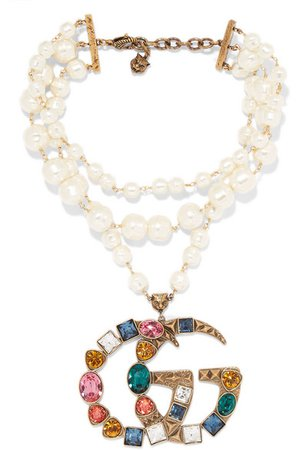 Gucci   Gold-plated, faux-pearl and crystal necklace   NET-A-PORTER.COM