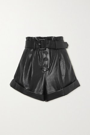 Belted Faux Leather Shorts - Black