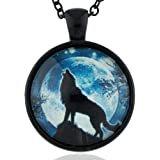 New Fashion Design Amazing Lone Wolf Necklace Glass Dome Howling Wolf Moon Necklace Wolf Necklace Men (Golden) | Amazon.com