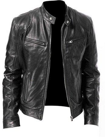 Leather Jacket For Men Cafe Racer Bomber Black Motorcycle