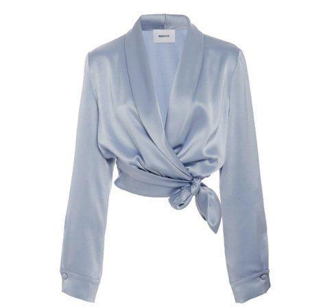 blue satin shirt
