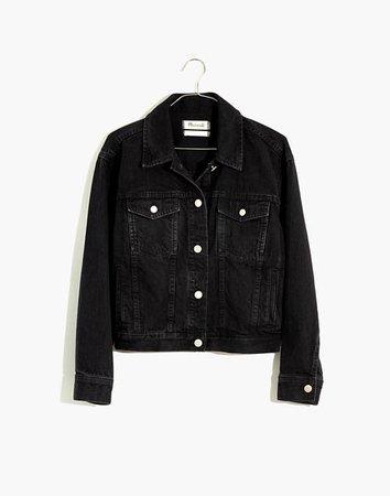 The Boxy-Crop Jean Jacket in Lunar Wash black