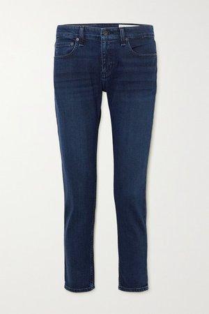 Dre Cropped Low-rise Slim-leg Jeans - Dark denim