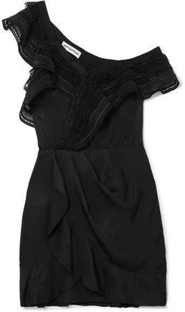 One-shoulder Guipure Lace-trimmed Satin Mini Dress - Black