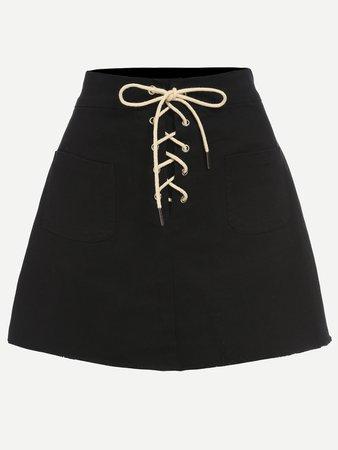 Black Lace-Up Fly Dual Pocket Raw Hem Skirt