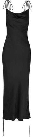 Orseund Iris - Ruched Satin Dress - Black