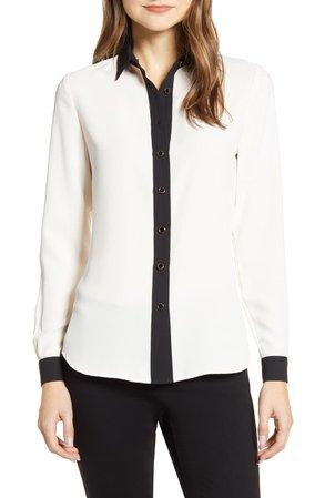 Anne Klein Contrast Detail Button-Up Blouse | Nordstrom