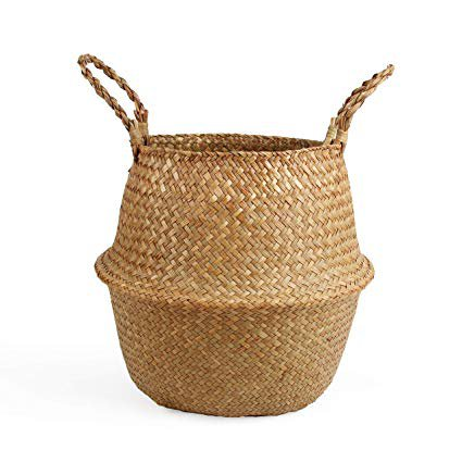 Amazon.com : BlueMake Woven Seagrass Belly Basket for Storage Plant Pot Basket and Laundry, Picnic and Grocery Basket (Small, Original) : Gateway