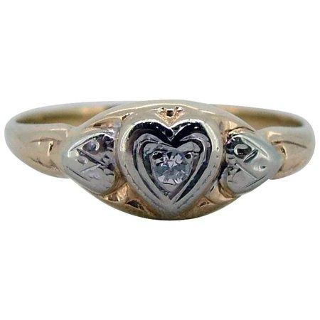 Vintage 10kt Sweet Heart Diamond Ring - Ca 1930-40 : Fine Jewelry by Pamela | Ruby Lane