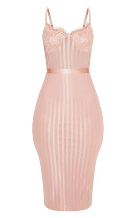 Dusty Pink Lace Detail Mesh Midi Dress | PrettyLittleThing