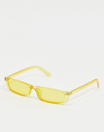 Pieces clear slim sunglasses in pastel yellow | ASOS