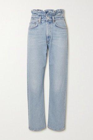 Net Sustain Organic High-rise Straight-leg Jeans - Mid denim