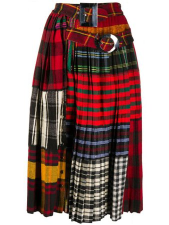Shop red & blue Chopova Lowena patchwork pleated skirt with Express Delivery - Farfetch