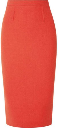 Arreton Wool-crepe Pencil Skirt - Orange