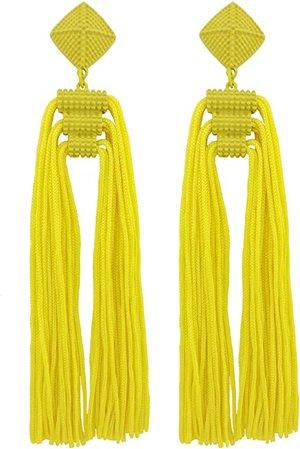 Amazon.com: Coiris Statement Thread Tassels Dangle Drop Earrings for Women (ER1141-Yellow): Jewelry