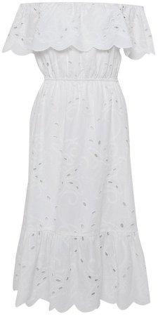 Ivory Bardot Broderie Midi Dress