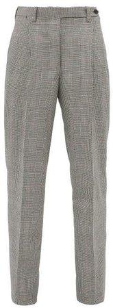 The Cornelia Checked Wool Trousers - Womens - Grey Multi