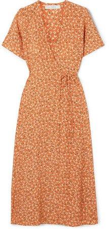 Leila Floral-print Crepe Wrap Dress - Pastel orange