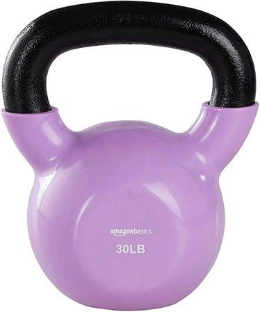 Amazon.com : Amazon Basics Vinyl Kettlebell - 30 Pounds, Light Purple : Sports & Outdoors
