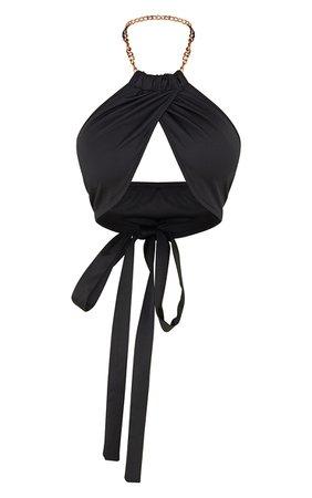 Black Woven Matte Halterneck Chain Detail Underbust Bralet   PrettyLittleThing USA