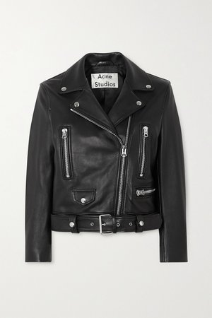 Black Leather biker jacket | Acne Studios | NET-A-PORTER
