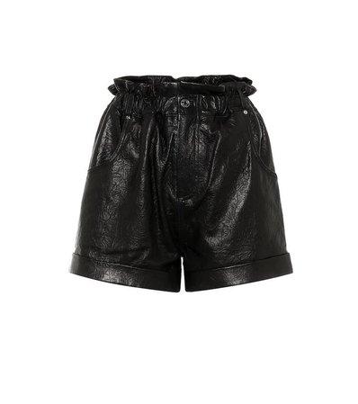 Shea leather high-rise shorts